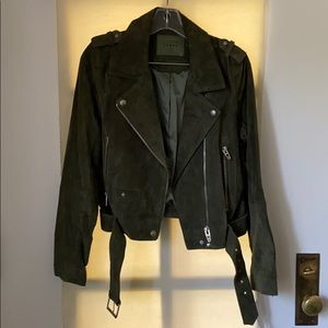 Blank NYC Olive Green Suede Moto Leather Jacket